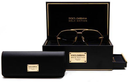 "c48dd822c308 Each pair of glasses is presented in its own beautiful little jewellery box  featuring a plaque with the words ""Dolce&Gabbana Gold Edition"" and  containing ..."