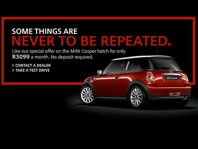 2ov deals: brand new mini cooper – r3,099 / month (no deposit