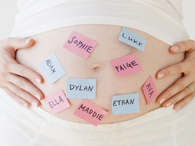 Pregnant Belly with Post-It Notes of Baby Names