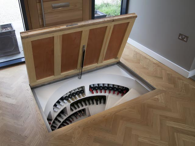 White Spiral Cellar with Recessed Trap Door for Timber (8) (1)