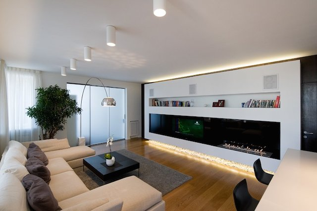 Beauteous Contemporary Minimalist Apartment Living Room Interior With Integrated Modern Tv Wall Unit And Bookshelf Units