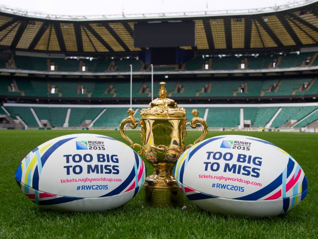 One year to go, fixtures, groups, Too Big to Miss campaign, country flag balls and Webb Ellis Trophy Shoot -  07/09/2014 - Twickenham Stadium - London Please Credit: Andrew Fosker / Seconds Left Images    Licensed to ER2015 for all promotional use