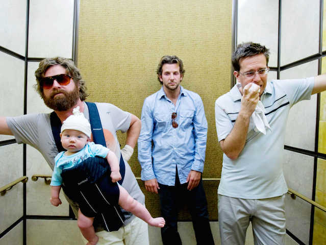 """(L-r) ZACH GALIFIANAKIS as Alan holds Baby Tyler, BRADLEY COOPER as Phil and ED HELMS as Stu in Warner Bros. Pictures' and Legendary Pictures' comedy """"The Hangover,"""" distributed by Warner Bros. Pictures. PHOTOGRAPHS TO BE USED SOLELY FOR ADVERTISING, PROMOTION, PUBLICITY OR REVIEWS OF THIS SPECIFIC MOTION PICTURE AND TO REMAIN THE PROPERTY OF THE STUDIO. NOT FOR SALE OR REDISTRIBUTION."""
