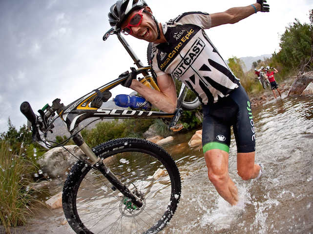David George makes his way through a deep river crossing during stage 3 of the 2011 Absa Cape Epic Mountain Bike stage race held from Saronsberg Wine Estate in Tulbagh to Worcester Gymnasium in Worcester, South Africa on the 30 March 2011  Photo by Karin Schermbrucker/Cape Epic/SPORTZPICS