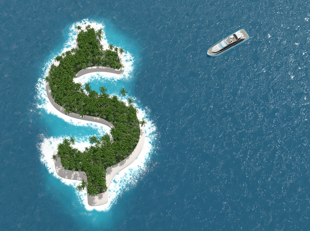 Tax haven, financial or wealth evasion on a dollar shaped island. A luxury boat is sailing to the island.