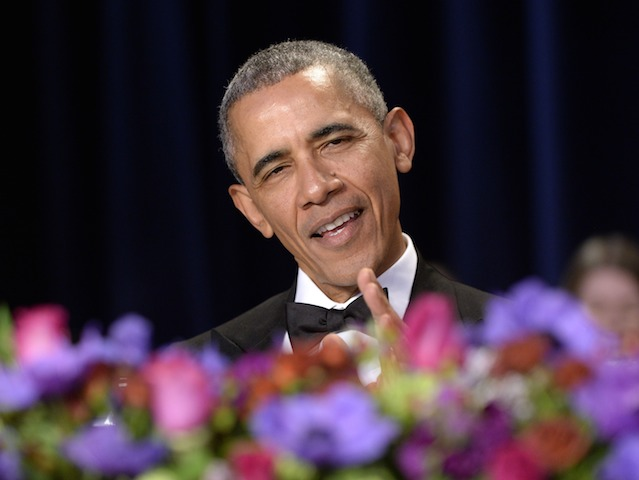 WASHINGTON, DC - APRIL 30: (AFP OUT) President Barack Obama speaks during the White House Correspondents' Association annual dinner on April 30, 2016 at the Washington Hilton hotel in Washington, DC. This is President Obama's eighth and final White House Correspondents' Association dinner (Photo by Olivier Douliery-Pool/Getty Images)