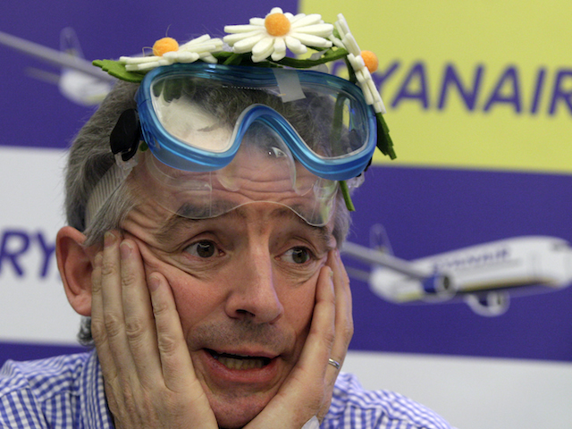 Ryanair Chief Executive Officer Michael O'Leary speaks during a media conference in Brussels on Thursday, Nov. 24, 2011. The press conference was held to reveal new destinations and options for passengers on board. (AP Photo/Virginia Mayo)