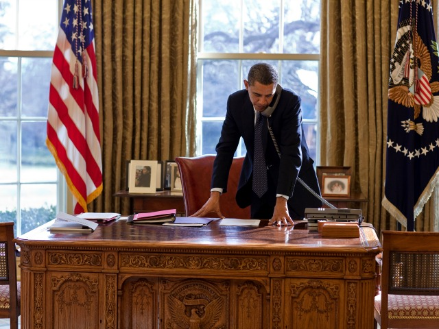President Barack Obama talks on the phone with Russian President Dmitri Medvedev in the Oval Office, Jan. 27, 2010. (Official White House Photo by Pete Souza)