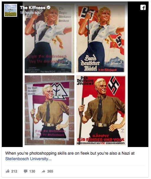 Three suspects identified in Maties' Nazi-inspired posters