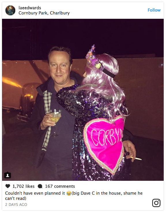 Vic-Tory-ous! Corbynista grabs a hug with David Cameron