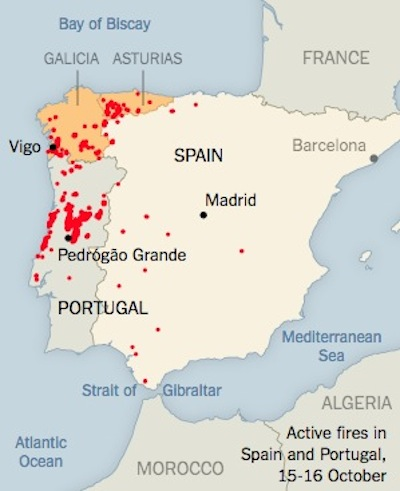 Map Of Northern Spain And Portugal.Terrifying Photos Of The October Fires In Portugal And Spain
