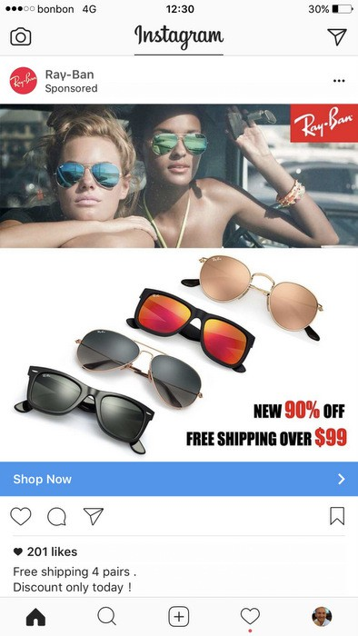 c22eafe5fa Here s What Happens When You Click On That Fake Ray-Ban Instagram Ad ...