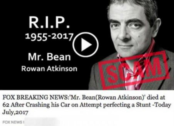 Dont go near the mr bean death hoax doing the rounds the headline reads fox breaking news mr bean rowan atkinson died at 62 after crashing his car on attempt perfecting a stunt today july 2017 solutioingenieria Image collections