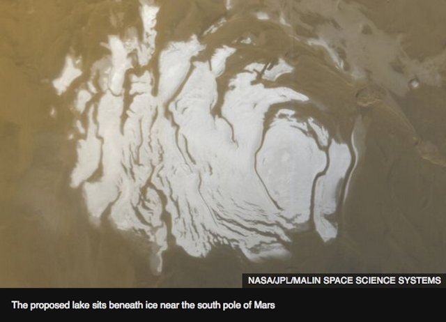Welcome to Mars-now with a liquid lake!