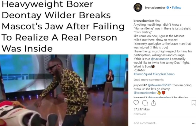 Deontay Wilder apologises for 'injuring' mascot on television show
