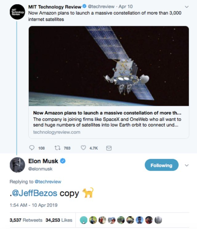 Elon Musk Calls Jeff Bezos Copycat Over Amazon's Internet Satellite Plan